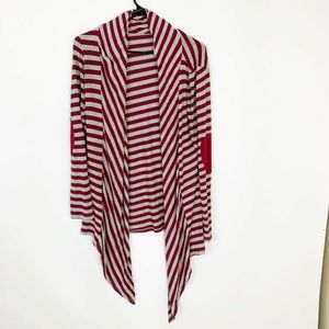 Emerald red stripe waterfall sarong open cardigan
